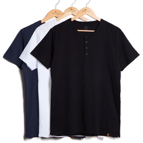 Kit de 3 Camisetas Henley - Azul Marinho, Branca e Preta (G)