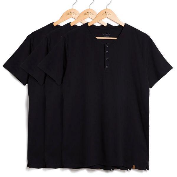 Kit de 3 Camisetas Henley – Pretas (G)