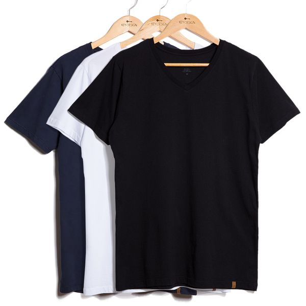 Kit de 3 Camisetas V - Azul Marinho, Branca e Preta (GG)