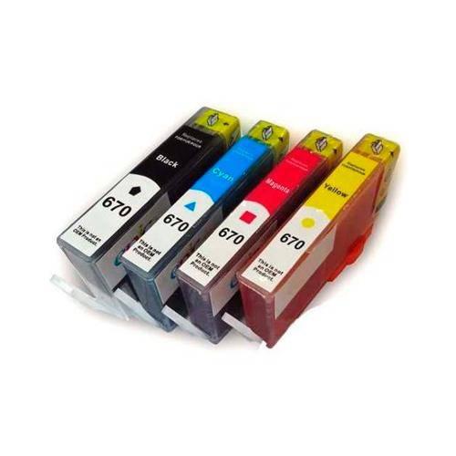 Kit de Cartucho de Tinta Compatível Hp 670xl Deskjet 4615 4625 5525 - 4 Cores