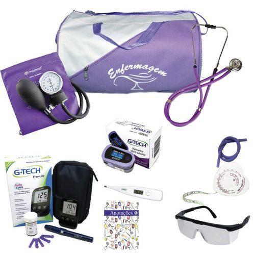 Kit 2 de Enfermagem Bolsa Lilás C/ Aparelho Lilás