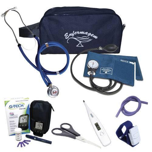 Kit de Enfermagem 3 C/ Necessaire e Aparelho Azul - Premium