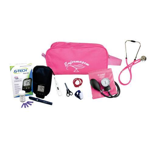 Kit de Enfermagem 3 C/ Necessaire e Aparelho Pink - Incoterm