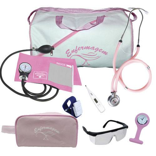 Kit de Enfermagem Completo com Relógio para Jaleco - Rosa