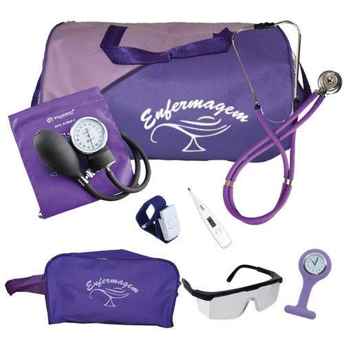 Kit de Enfermagem Completo com Relógio para Jaleco - Roxo