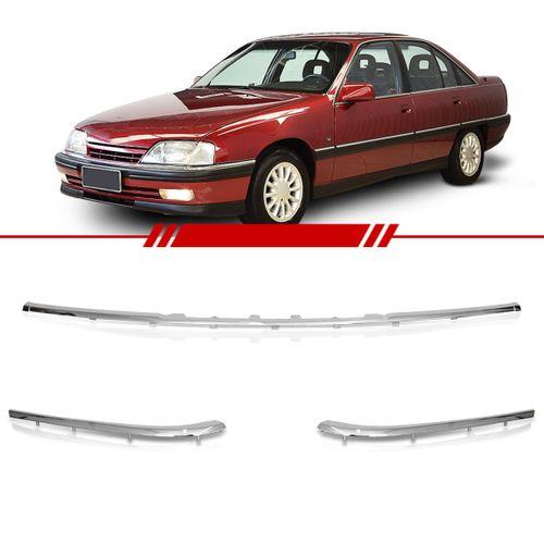 Kit de Friso Central e Laterais Parachoque Dianteiro Omega 1993 a 1998 Cromado