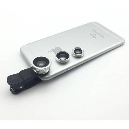 Kit de Lentes para Celular (Olho de Peixe) Prata