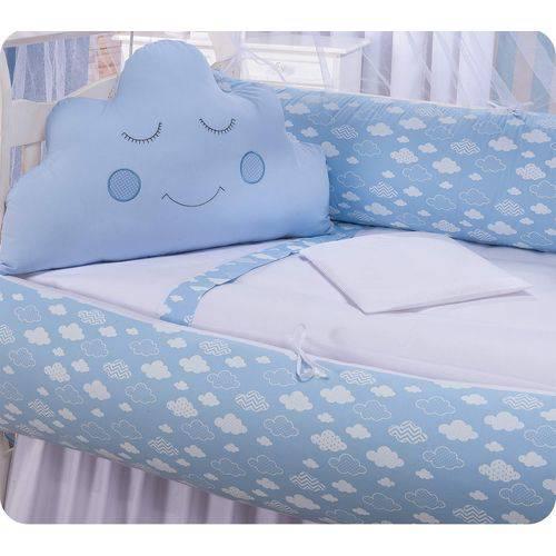 Kit de Mini Berço Nuvens Azul - Meninos
