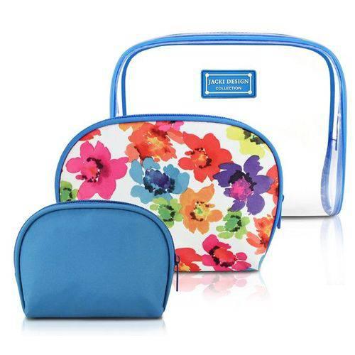Kit de Necessaire de 3 Peças Azul Jacki Design