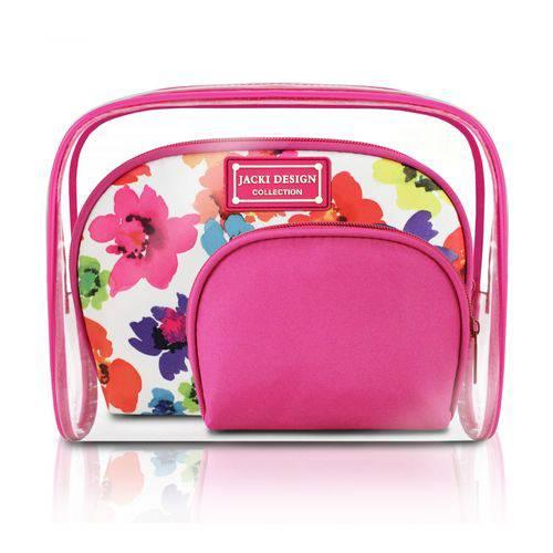 Kit de Necessaire de 3 Peças - Pink - Aquarela - Microfibra + Pvc - Jacki Design