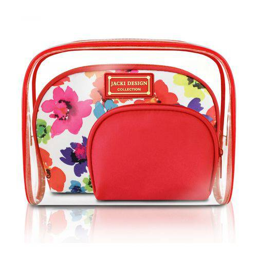 Kit de Necessaire de 3 Peças - Vermelho - Aquarela - Microfibra + Pvc - Jacki Design