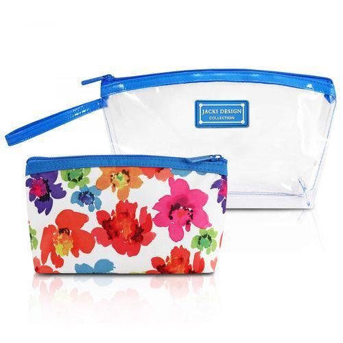 Kit de Necessaire 2 Pcs Azul Aquarela Microfibra + PVC Jacki Design