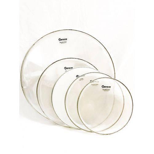 Kit de Peles P/ Bateria Adah Double Clear 10/12/14/22 e 14cx