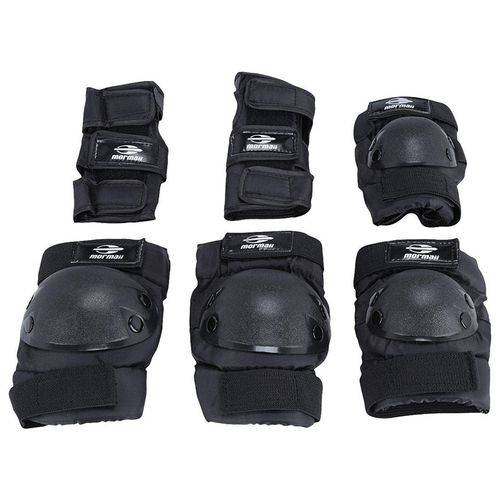 Kit de Proteção para Patins e Skate Preto Mormaii