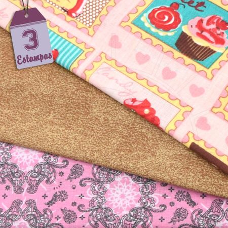 Kit de Tecido Cupcake 01B (30x70) 3 Estampas