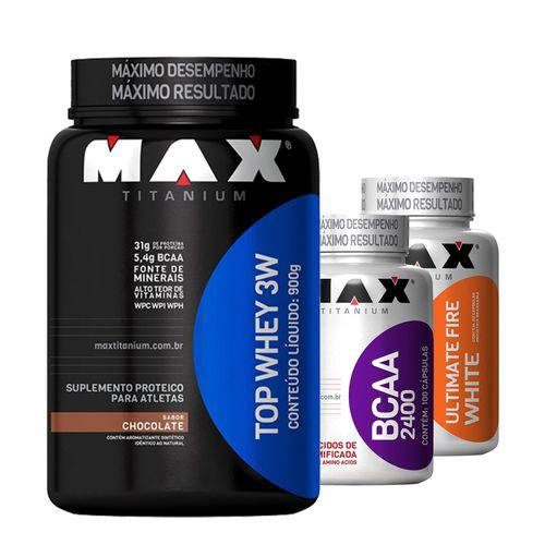 Kit Definição Max Titanium (1 3W TOP WHEY Max - 900grs + 1 BCAA 2400 - 100 Caps + 1 ULTIMATE FIRE WH