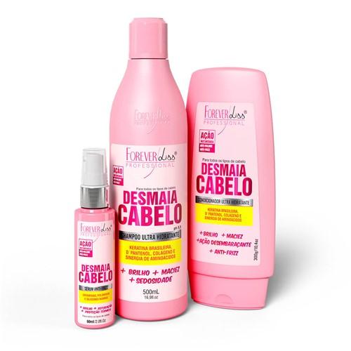 Kit Desmaia Cabelo Shampoo Condicionador e Sérum Forever Liss