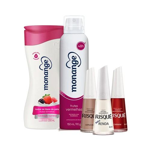 Kit Dia das Mães Desodorante + Hidratante Monange Frutas Vermelhas + Classicos Risqué Grátis Necessaire