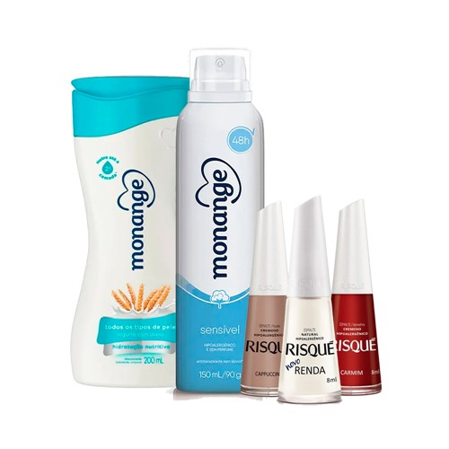 Kit Dia das Mães Desodorante + Hidratante Monange Hidratação Nutritiva + Classicos Risqué Necessaire
