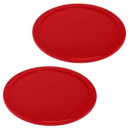 Kit Discos de Air Hockey 2 Peças Vermelho com 6,4 Cm