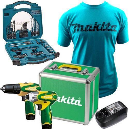 Kit Dk1493 Br Furadeira e Parafusadeira Hp330d e Td090d Makita C Camiseta M