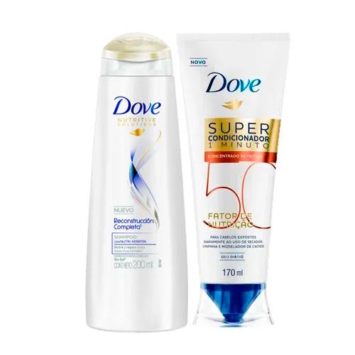 Kit Dove Shampoo Reconstrução Completa 200ml + Super Condicionador Nutrição 50 Nutritivo 170ml