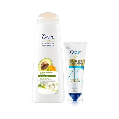 Kit Dove Shampoo Ritual de Fortalecimento 400ml + Super Condicionador Fator de Nutrição 40 170ml