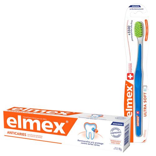 Kit Elmex Escova Dental Ultra Soft 1 Unidade + Creme Dental Anticaries 90g