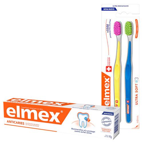 Kit Elmex Escova Dental Ultra Soft 2 Unidades + Creme Dental Anticaries 90g