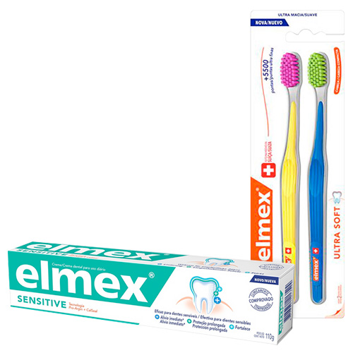 Kit Elmex Escova Dental Ultra Soft 2 Unidades + Creme Dental Sensitive 110g