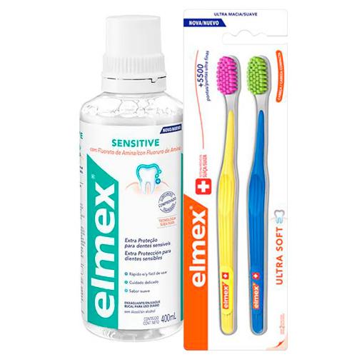 Kit Elmex Escova Dental Ultra Soft 2 Unidades + Enxaguante Bucal Sensitive 400ml