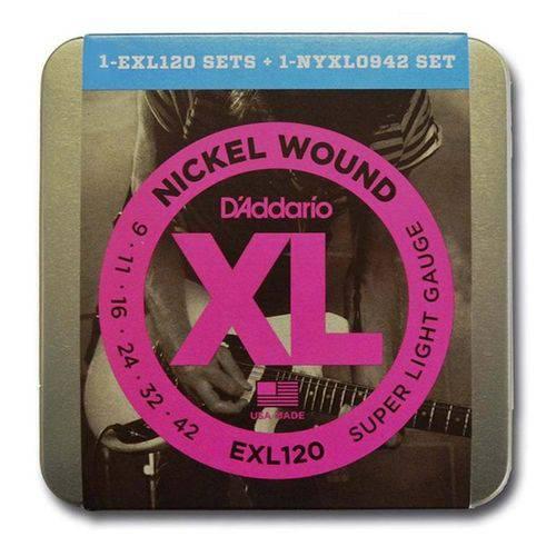 Kit Encordoamento 0.09 EXL120 + NYXL0942 + 10 Palhetas + Lata - D'addario