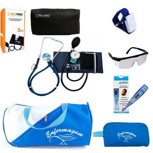 Kit Enfermagem Azul Completo com Aparelho de Pressão PAMED