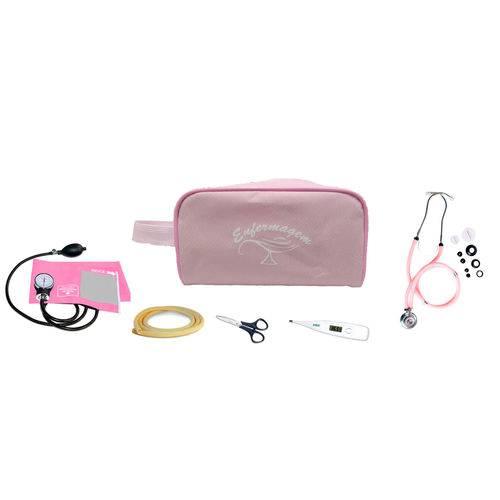 Kit Enfermagem Basic - Ap. de Pressão e Estetoscopio Rosa, Termometro, Tesoura, Garrote e Nec Rosa