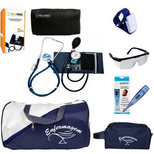 Kit Enfermagem Completo Azul Marinho com Aparelho de Pressão