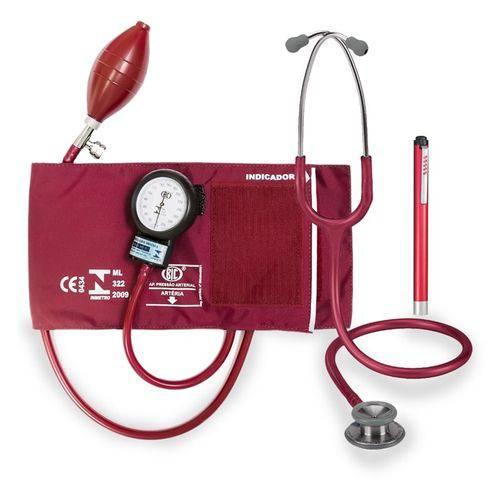 Kit Enfermagem: Estetoscópio Professional Adulto Vinho Spirit + Aparelho de Pressão Vinho Bic + Lanterna de Led Vermelha Md