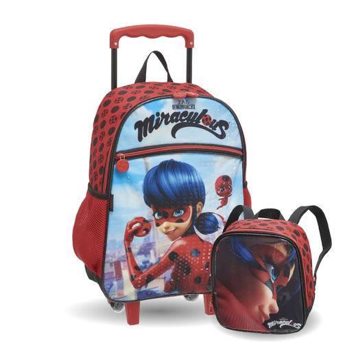 Kit Escolar Infantil Miraculous Lady Bug - Mochilete + Lancheira