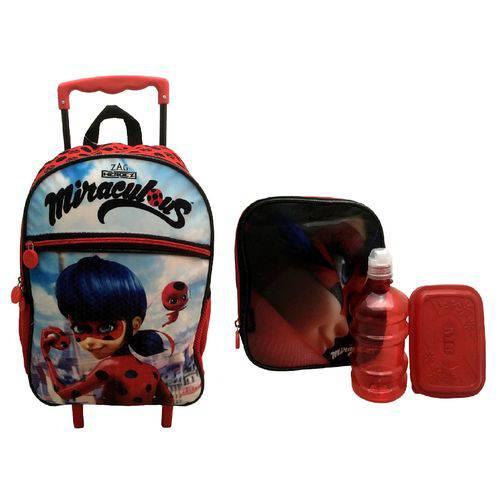 Kit Escolar Infantil Miraculous Ladybug Pacific : Mochila G Rodinhas + Lancheira Térmica