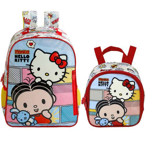 Kit Escolar Mochila 16 + Lancheira Xeryus Mônica e Hello Kitty (7912+7914)