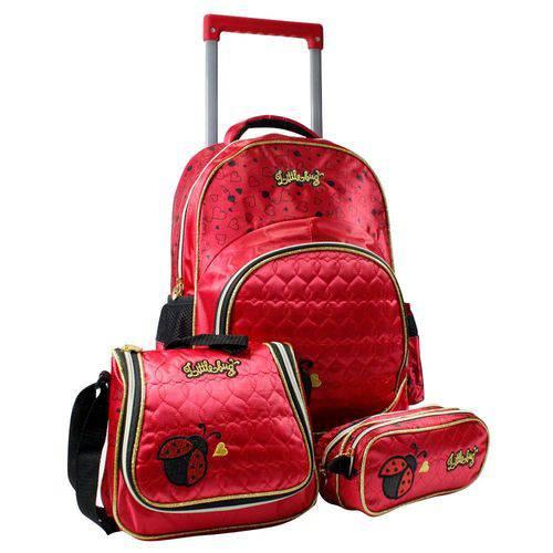 Kit Escolar Mochilete Lancheira e Estojo Lb7274k Vermelha