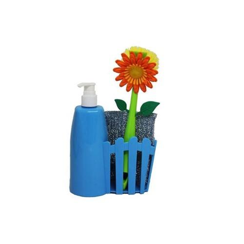 Kit Escova e Dispenser 61036 Azul Basic Kitchen