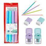 Kit Faber-castell Caneta Fine Pen Cores Pastel com Lapis - Borracha - Apontador