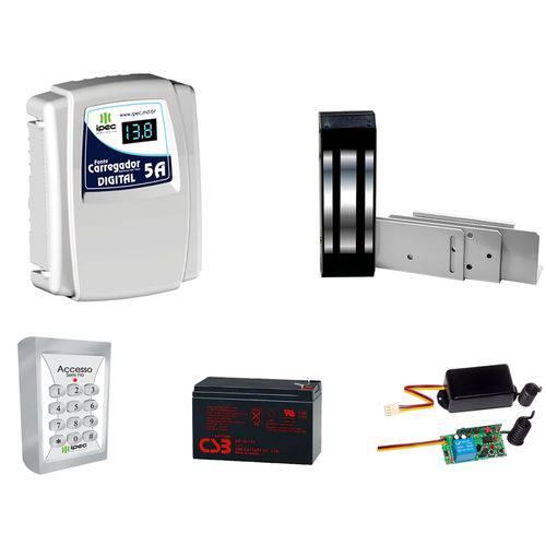 Kit Fechadura Eletromagnética M150 Ipec Acesso Sem Fio