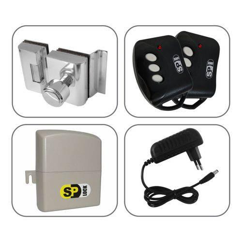 Kit Fechadura Eletrônica Porta Vidro 2 Folhas Furo com Controle Remoto AGL