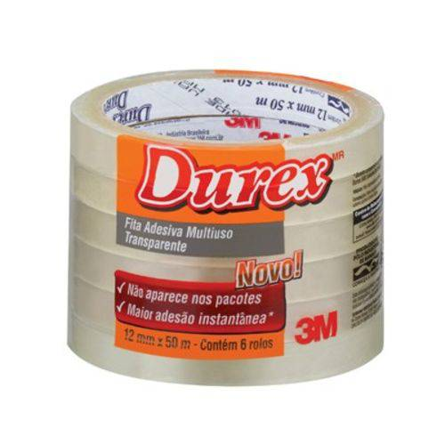 Kit Fita Durex 3m Novo - com 6 Unidades