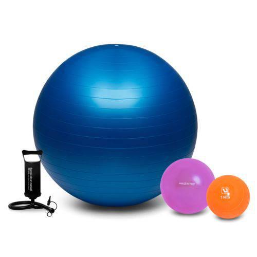 Kit Fitness Fisioterapia Bola Suíça 65cm Overball Softball