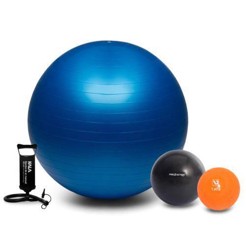Kit Fitness Fisioterapia Bola Suíça 65cm + Overball Softball