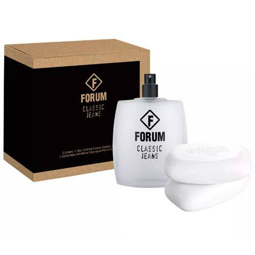 Kit Forum Classic Jeans Unissex Eau de Cologne 100ml + 2 Sabonetes 90g