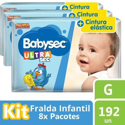 Kit Fralda Babysec Galinha Pintadinha G 240 Unidades