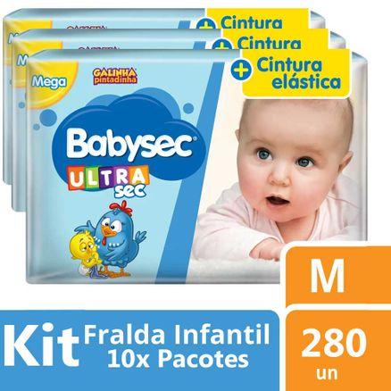 Kit Fralda Babysec Galinha Pintadinha Ultra Jumbo M 280 Unidades